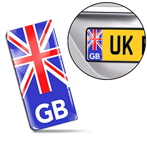 SkinoEu 2 x 3D Gel Silicone GB Badge Car Number Plate Self-adhesive Stickers UK Union Jack decals QS 1