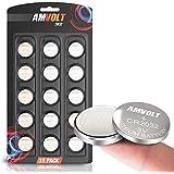 AmVolt CR2032 バッテリー 220mAh 3ボルト リチウムバッテリー コインボタン電池 有効期限2023 15個パック
