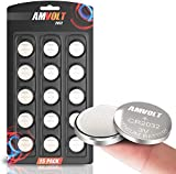 15 Pack AmVolt CR2032 Battery 220mAh 3 Volt Lithium Battery Coin Button Cell 2023 Expiry Date