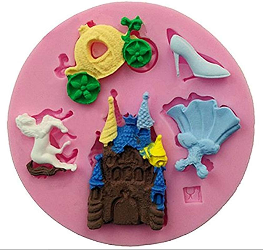 Cinderella Things 5 Cavity Silicone Mold For Fondant Gum Paste Chocolate Crafts