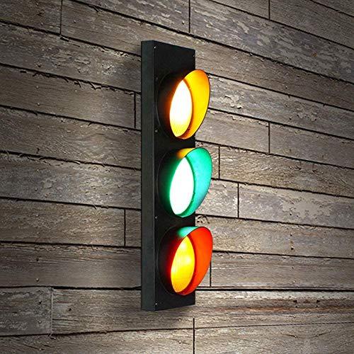 Dongbin 5W LED Ampel Lampe Wandleuchte Mit Fernbedienung Schalter Schwarz Wandlampe Rot Grün Gelb Tricolor Kreative Verkehrszeichen Schilder Lichter Wandlicht Bar Café,Schwarz