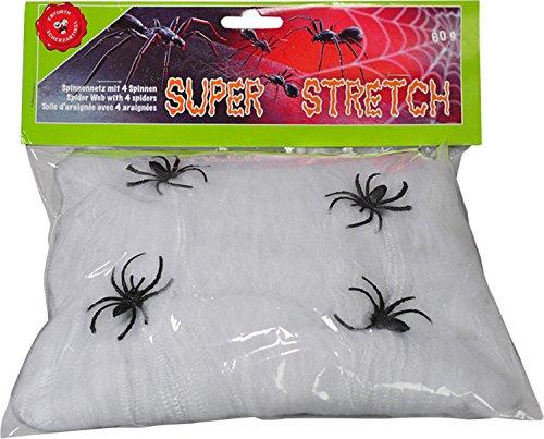 Spinnennet, rekbaar, 60 gram, 4 zwarte spinnen, wit