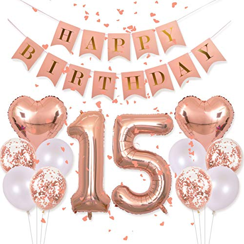 Birthday Decorations Pink Happy Birthday Banner 40inch Rose Gold Number 15 Balloons Rose Gold Confetti Balloons 1' in Diameter Heart Confetti for 15th Birthday Party Supplies Photo Props