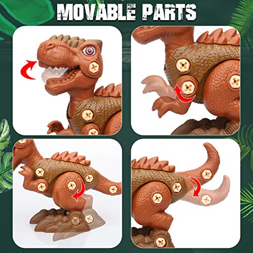 Take Apart Dinosaur Toys for Boys Building Toy Set with Electric Drill Construction Engineering Play Kit STEM Learning for Kids Girls Age 3 4 5 Year Old