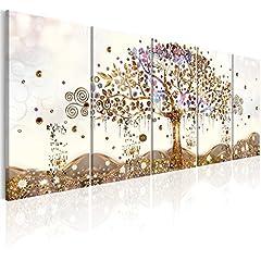 Idea Regalo - murando Quadro Albero della Vita Klimt 200x80 cm Stampa su Tela in TNT XXL Immagini Moderni Murale Fotografia Grafica Decorazione da Parete 5 Pezzi Astratto l-A-0009-b-n