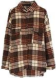 NDCATHE Abrigo de guisante casual de bolsillo para mujer camisa de cuadros abajo chaqueta abrigos Tops