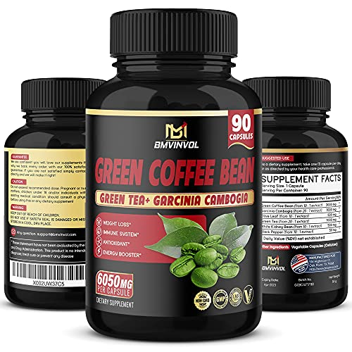Green Coffee Bean Extract Capsules-6050mg Herbal Equivalent - Enhanced with Garcinia Cambogia, Green Tea and Others - Antioxidant Supplement, Metabolism Booster for Weight Loss-3 Month Supply
