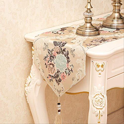 FHFF Tafelkleed Europese Luxe Geborduurde Runner Tafelkleed Geborduurde Tafellopers Tafelvlag Diner Matten 32X240Cm Geel