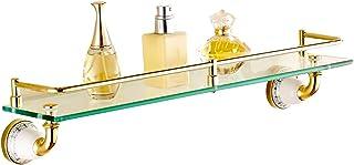 ZHAOHUI 浴室用ラック 銅 強化ガラス 壁掛け式 耐衝撃性 ガードレール 防水、 パンチ取り付け、 2色 (色 : ゴールド)
