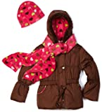 Pink Platinum Little Girls'  Solid Puffer with Heart Printed Lining Outerwear, Brown, 4