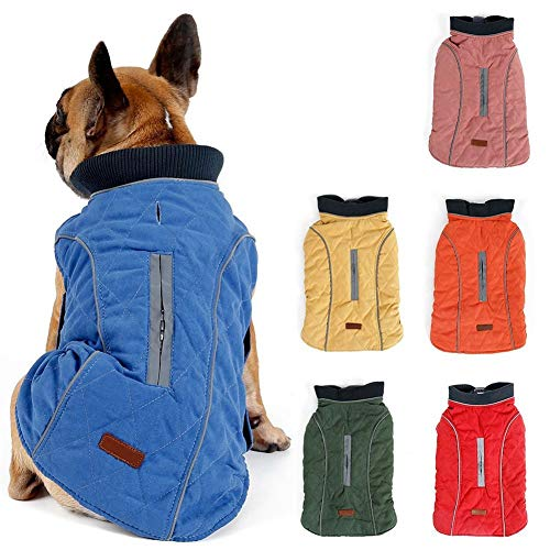 Withu Cold Winter Dog Pet Coat Jacket Vest Warm Outfit Clothes for Small Medium Large Dogs Blue L