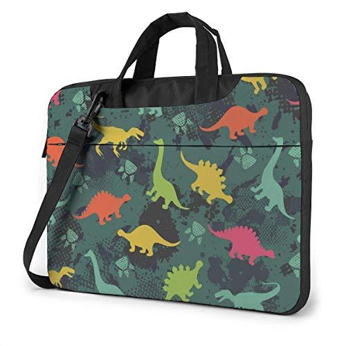 Animal Dinosaur Set Camo Verde Funda para portátil Funda para Ordenador Bolso de Mano Bolso Bandolera para Viajes de Negocios
