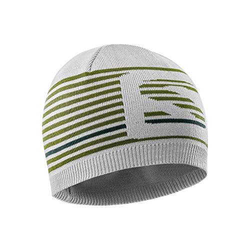 Salomon Unisex Umkehrbare Multisport-Mütze, FLATSPIN SHORT BEANIE, Grau (Lunar Rock)/Khaki (Avocado), Einheitsgröße, LC1143000