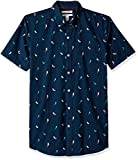 Amazon Brand - Goodthreads Men's Slim-Fit Short-Sleeve Printed Poplin Shirt, Birds, Large