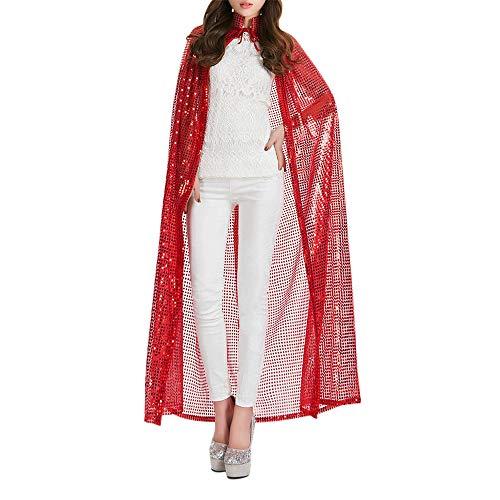 Wankd Erwachsene Umhang, Teufel Kostüm Sequin Cape, Cosplay Kleidung für Halloween und Karneval Party (Rot)