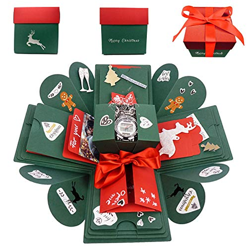 Happy Box Fotoalbum Limited Editon Weihnachtsedition, DIY Überraschungsbox, Explosions-Box, kreatives Geschenk, Scrapbook und faltbares Foto-Album für Weihnachten, persönliches Geschenk (Christmas)