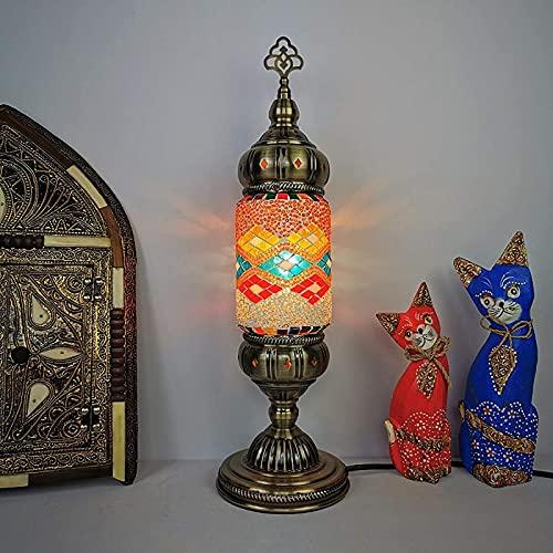 GDEVNSL Lámparas de Mesa de Mosaico Turco Lámpara de Noche Hecha a Mano marroquí Estilo tailandés Luz de Noche romántica Sala de Estar Dormitorio Cafe Bar, 17.7'Alto