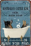 Generic Brands Australian Cattle Dog Bath Soap Metal Poster Art Tin Sign Vintage Iron Painting Creative Wall Decoration for Office Bathroom