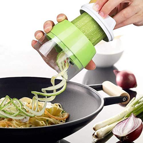 LJD Handgehaltene Gemüse Spiral Hobel Cutter, Gemüse Spiralizer 4-In-1 Einstellbare Grater Karotte Gurke Zucchini Zucchini-Spaghetti
