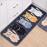 WWLZ Gemütliche weiche Katzenteppiche rutschfeste, waschbare, haltbare Teppiche, saugfähige Badezimmerteppiche, Haushaltsmatten