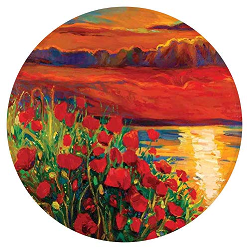 Flower Round Area Rug,Oil Painting View Stone Stairs in The Greek Garden Greenery Forest Picture,for Living Room Bedroom Dining Room,Round 4'x 4',Orange Red Green