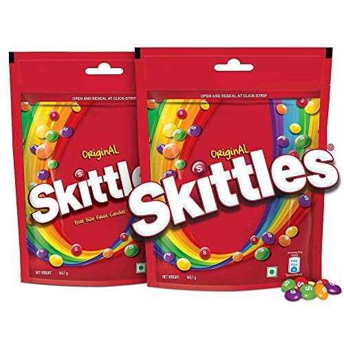 Skittles Bite-Size Fruit Candies Pouch, Original Pouch, 281 g with Skittles Standup Pouch, Pack of 2