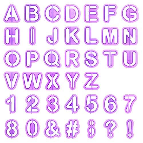 SUI-lim Fondant Ausstecher Set, Ausstechform Ausstecher 40 Teilig Fondant Ausstechform Buchstaben, Satzzeichen, Buchstaben und Zahlen zum Torten Dekorieren, Backzubehör