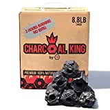 Charcoal King by 7K Charcoal Briquette - All Natural - Additive Free - Biodegradable - Highest Firing Temperature - Extra Long Burning Time - 8.8 lbs