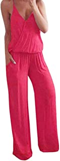 Women's Jumpsuit,Solid Sleeveless Backless V Neck Spaghetti Strap Cross Back High Waist Wide Leg Rompers for Women