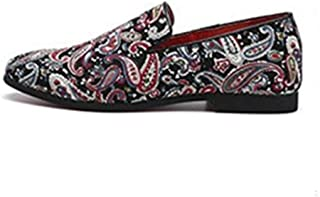 HUAHs0 Fashion Driving Loafer for Men Casual Boat Shoes Slip on Cloth with Artistic Pattern Pointed Toe Flat Heel Classic Embroidery` (Color : Multi-colored, Size : 38 EU)