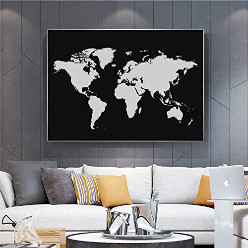 BailongXiao Mapa Abstracto en Blanco y Negro sobre Lienzo,