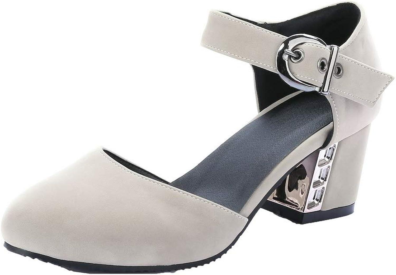WeiPoot Women's Buckle Closed-Toe PU Kitten-Heels Solid Sandals
