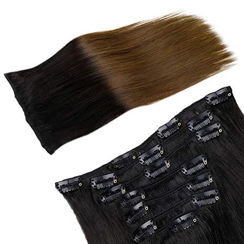 LaaVoo 16 Pollici 120Grammo Estensione Capelli Veri Naturale con Clip Nere Ombre Castano Scuro #1b/4 Veri Cheratina Clip Remy Hair per Full Head 7 Pezzi/Pacco