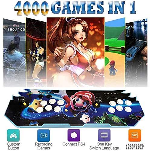ZQYR# Pandora's Box 3D Home Arcade Konsole, Game Console, 4000 Classic-Spiele Joystick Spielkonsole, Kundenbezogene Schaltflächen, 720P Full HD, Unterstützt PS3, HDMI und VGA Ausgang,GM4301442