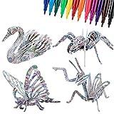 ISIYINER Regalo de Rompecabeza 3D DIY Arts Crafts Puzzles para Niños Juguetes Creativos Insectos de 4 Piezas con 12 Rotuladores