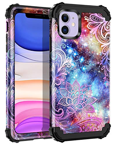 Casetego Compatible iPhone 11 Case,Floral Three Layer Heavy Duty Hybrid Sturdy Shockproof Full Body Protective Cover Case for Apple iPhone 11 6.1 inch,Purple Mandala