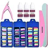 Colorful Fake Acylic Nail Tips Kit, 300PCS (3Boxes) Coffin Colored False Nails Set with nail Glue,Ballerina Professional Nail Art Set, Full Cover Stiletto Fake Nails, Nail Clipper, Nail Buffer