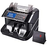 Money Counter, Counterfeit Bill Detector Machine MMC02 with UV/MG/IR/MT/DD Detection, Six Operation Modes, 1200 Bills/Minute, External Display for Business and Bank - Doesn't Count Value of Bills