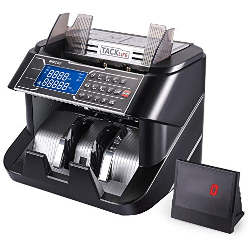 Money Counter, Counterfeit Bill Detector Machine MMC02 with UV/MG/IR/MT/DD Detection, Six Operation Modes, 1200 Bills/Minute, External Display for...