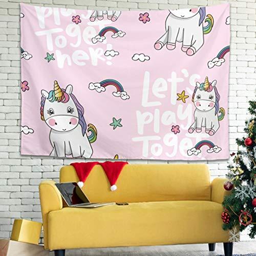Tapiz de pared con diseño de unicornio con texto en alemán, hippie, decoración de pared para dormitorio, salón, como manta de playa, 150 x 150 cm, color blanco