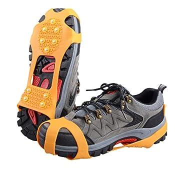 TRIWONDER Crampons Neige à Glace Traction Crampons Antidérapant sur Chaussures/Bottes 10 Clous à Neige Grips Crampons Pointes (Orange, M)