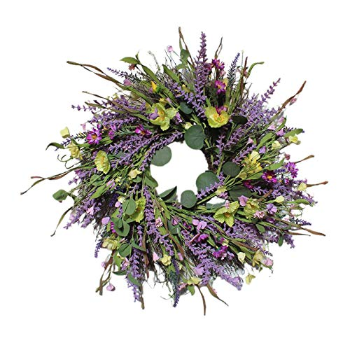 Baoblaze Artificial Lavender Wreaths Fake Flower Wreath for Front Door Farmhouse Welcome Door Wreath for Summer Hanging Wall Wedding Window Decor