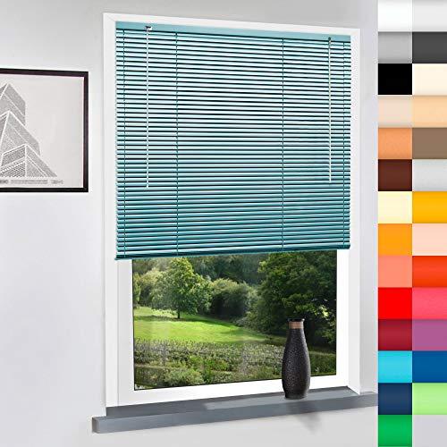 Sun World Aluminium Jalousie nach Maß, Alu Jalousien nach maß innen Innenjalousien Maßanfertigung, für Fenster und Türen, Decken und Wandmontage (Türkis, Höhe: 100cm x Breite: 120cm)