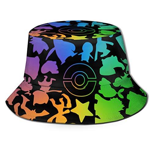 Flat Top Breathable Bucket Hats Unisex Poke-Mon Go Fest (Pogo) Pattern Bucket Hat Summer Novelty Fisherman's Hat