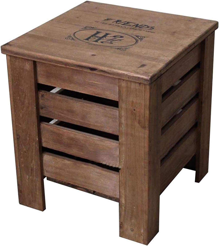 Tingting-Stools, Retro Solid Wood Hollow Bedroom Living Room Storage Footrest Decoration (color   Brown, Size   30  30  34)