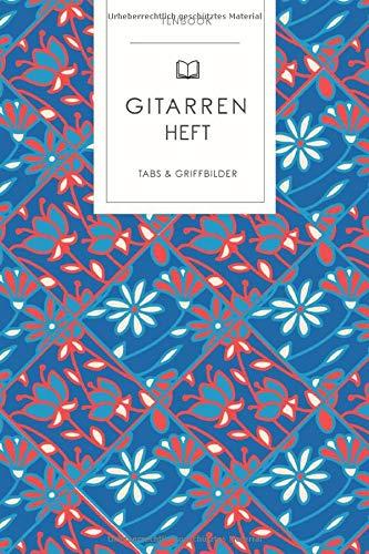 Gitarrenheft: Eckiges Blumenmuster rot blau. 120 Seiten für Tabs mit schönem Design. Soft Cover 6x9 Zoll, ca. DIN A5 15x22cm.