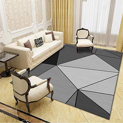 Carpet bedroom rug Easy to clean black gray geometric design soft carpet childrens bedroom rugs hallway decor 60*160CM