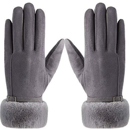Vohoney Handschuhe Damen, Winter Handschuhe Warme Touchscreen Handschuhe Outdoor Sport Fahrradhandschuhe Winddicht Laufhandschuhe Künstliches Wildleder Handschuhe (Damen Winterhandschuhe Grau 3)
