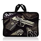LSS 15.6 inch Laptop Sleeve Bag Compatible with Acer, Asus, Dell, HP, Sony, MacBook and More | Carrying Case Pouch w/Handle, Police Gun Weapons