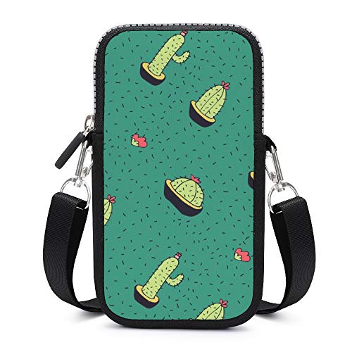 Handytasche / Umhängetasche mit abnehmbarem Schultergurt, Kaktus, schweißfest, für Geld, Handgelenk, Geldbörse, Outdoor-Tasche für Jungen